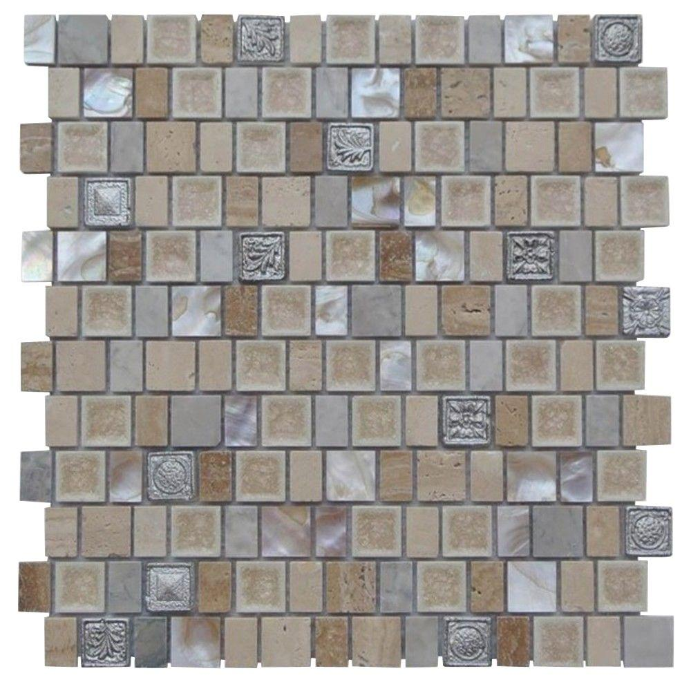 Ivy Hill Tile Charm II Gold Cream 12 in. x 12 in. x 8 mm Glass and Stone Mosaic Tile