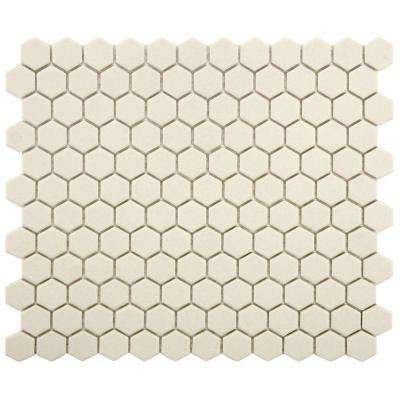 Gotham Hex Antique White 10-1/4 in. x 12 in. x 5 mm Porcelain Unglazed Mosaic Tile (8.54 sq. ft. / case)
