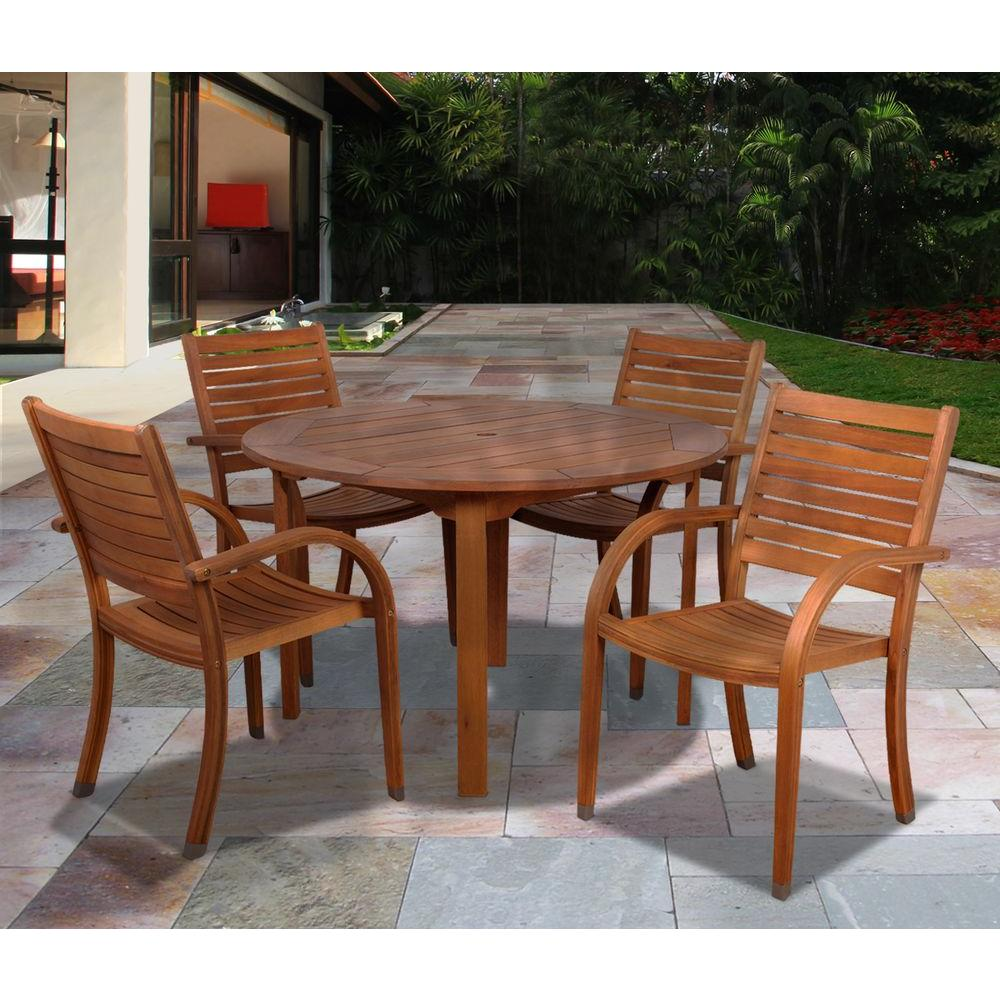 Amazonia Arizona Eucalyptus Wood 5Piece Round Patio Dining Set