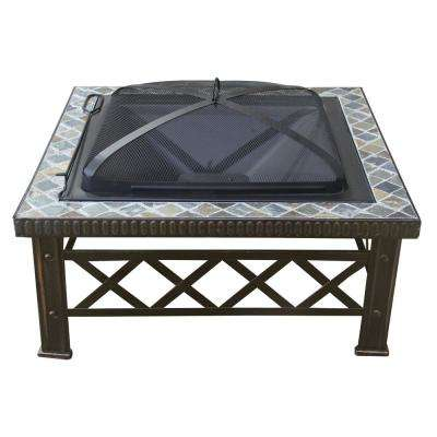 19.7 in. Height Square Steel Tile Wood Coal Slated Fire Pit in Rustic