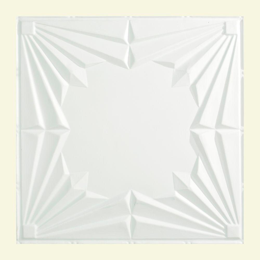 Art Deco 2 ft. x 2 ft. Lay-in Ceiling Tile in Matte White