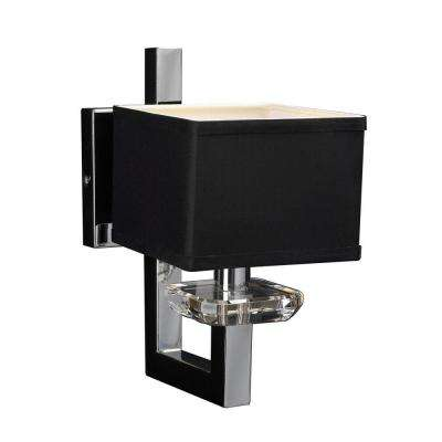 1-Light Polished Chrome Sconce with Black Fabric Shade and Clear Glass