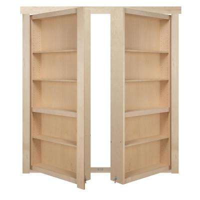 48 in. x 80 in. Flush Mount Assembled Maple Unfinished Out-Swing Solid Core Interior French Bookcase Door