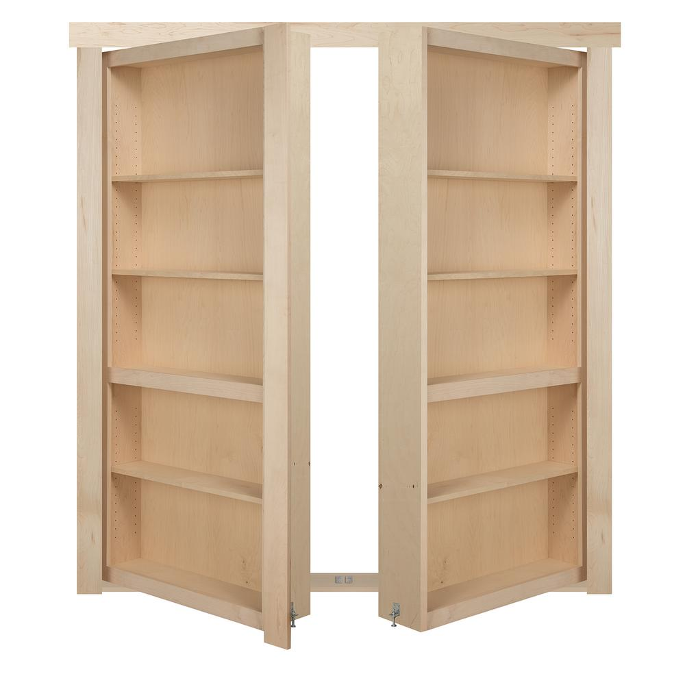 The Murphy Door 60 in. x 80 in. Flush Mount Assembled Maple Unfinished In-Swing Solid Core Interior French Bookcase Door