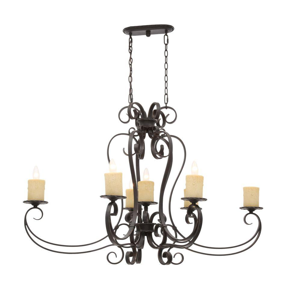 World Imports Stafford Spring Collection 7-Light Antique Bronze Hanging Pendant