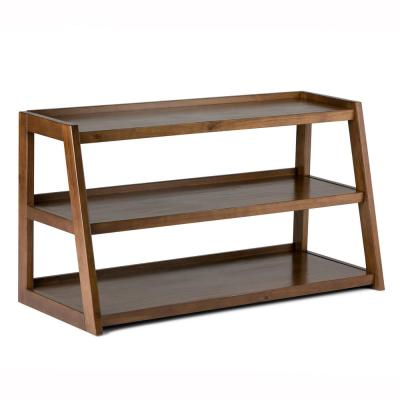 Sawhorse Solid Wood 48 in. Wide Modern Industrial TV Media Stand in Medium Saddle Brown for TVs Upto 50 in.