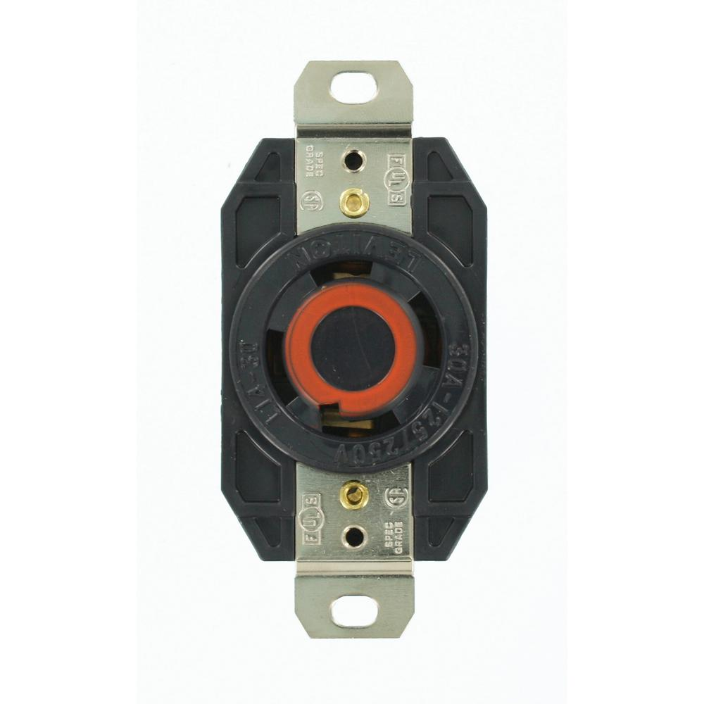 Leviton 30 Amp 125/250-Volt Flush Mounting Grounding Locking Outlet, Black