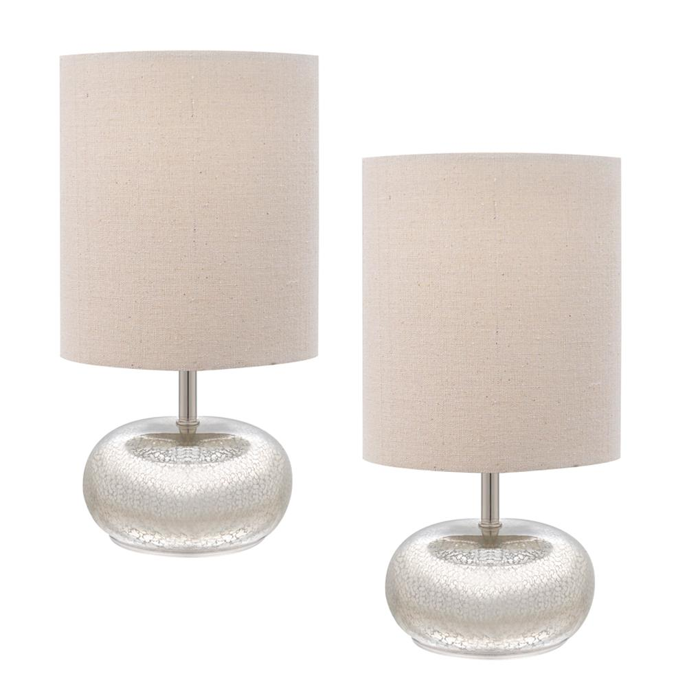 Mercury Glass Table Lamp With Beige Linen Shades (2 Pack)