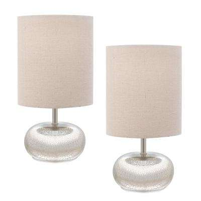 Mercury glass table lamp with beige linen shades 2 pack