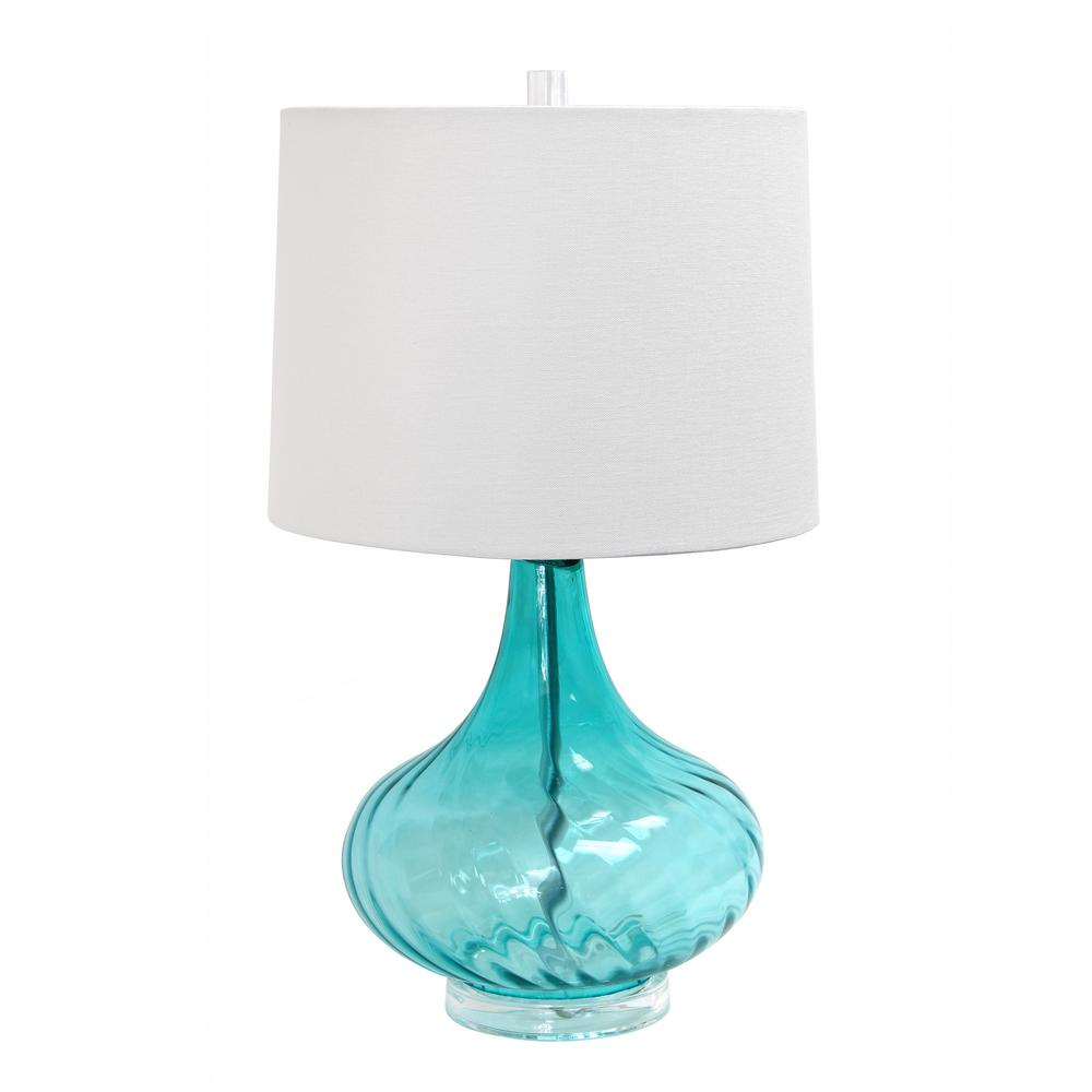 24 in. Light Blue Glass Table Lamp with Fabric Shade