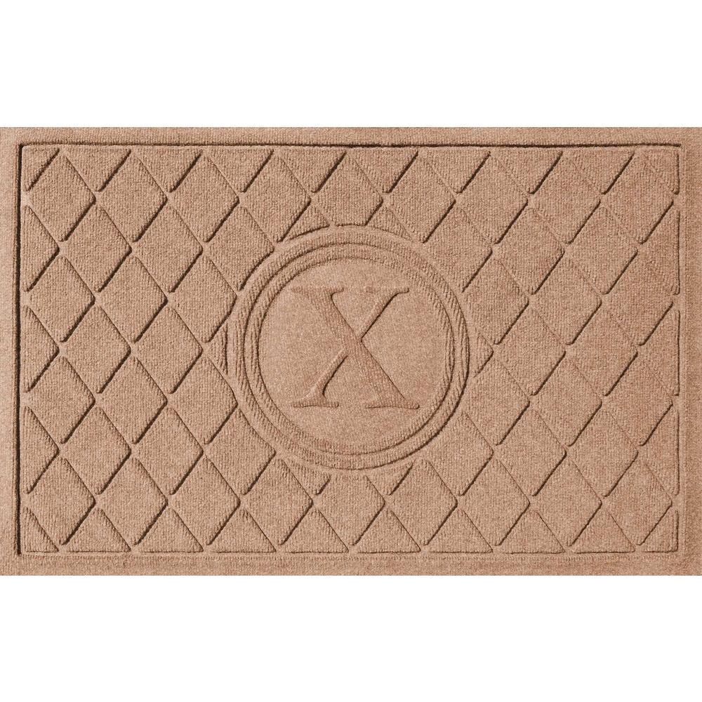 Bungalow Flooring Argyle Medium Brown 24 in. x 36 in. Monogram X Door Mat