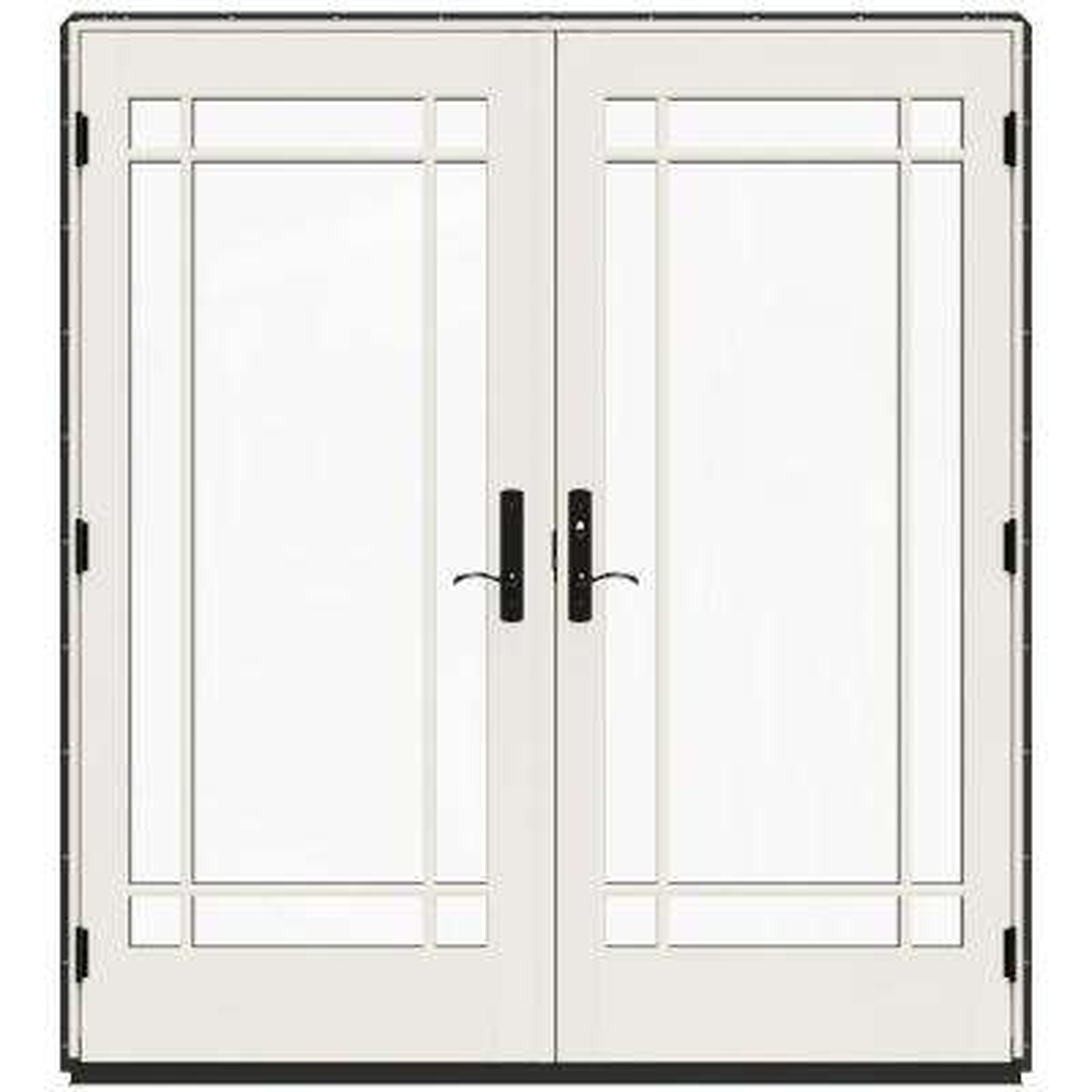 72 in. x 80 in. W-4500 Bronze Clad Wood Left-Hand 9 Lite French Patio Door w/White Paint Interior