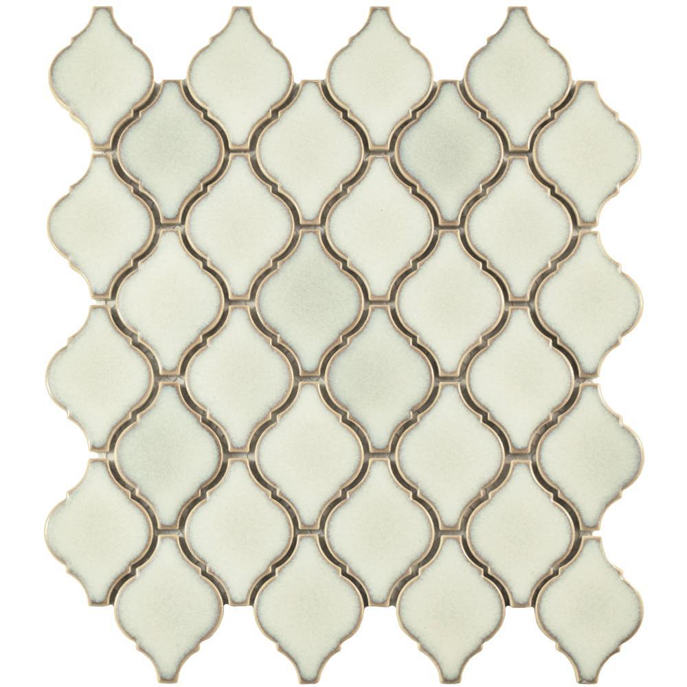 Arabesque Selene 9-7/8 in. x 11-1/8 in. x 6 mm Porcelain Mosaic Tile