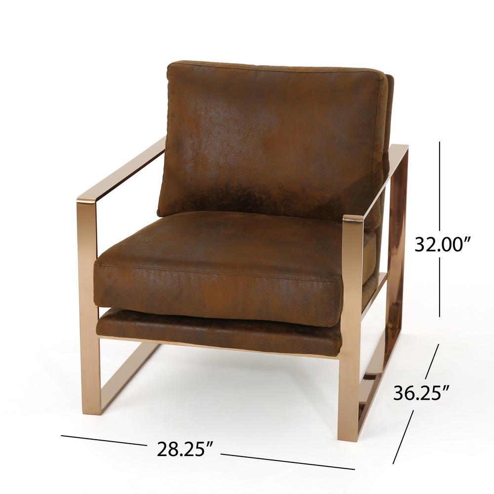 Incredible Noble House Cecelia Modern Brown Microfiber Club Chair 42279 Uwap Interior Chair Design Uwaporg