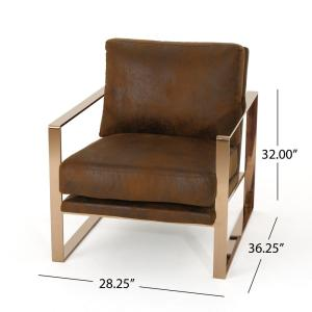 Swell Noble House Cecelia Modern Brown Microfiber Club Chair 42279 Uwap Interior Chair Design Uwaporg