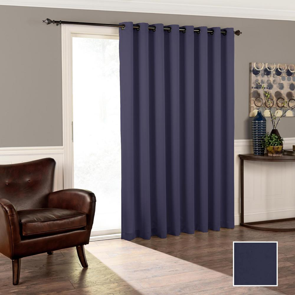 Eclipse Tricia 84 in. L Polyester Curtain in Midnight