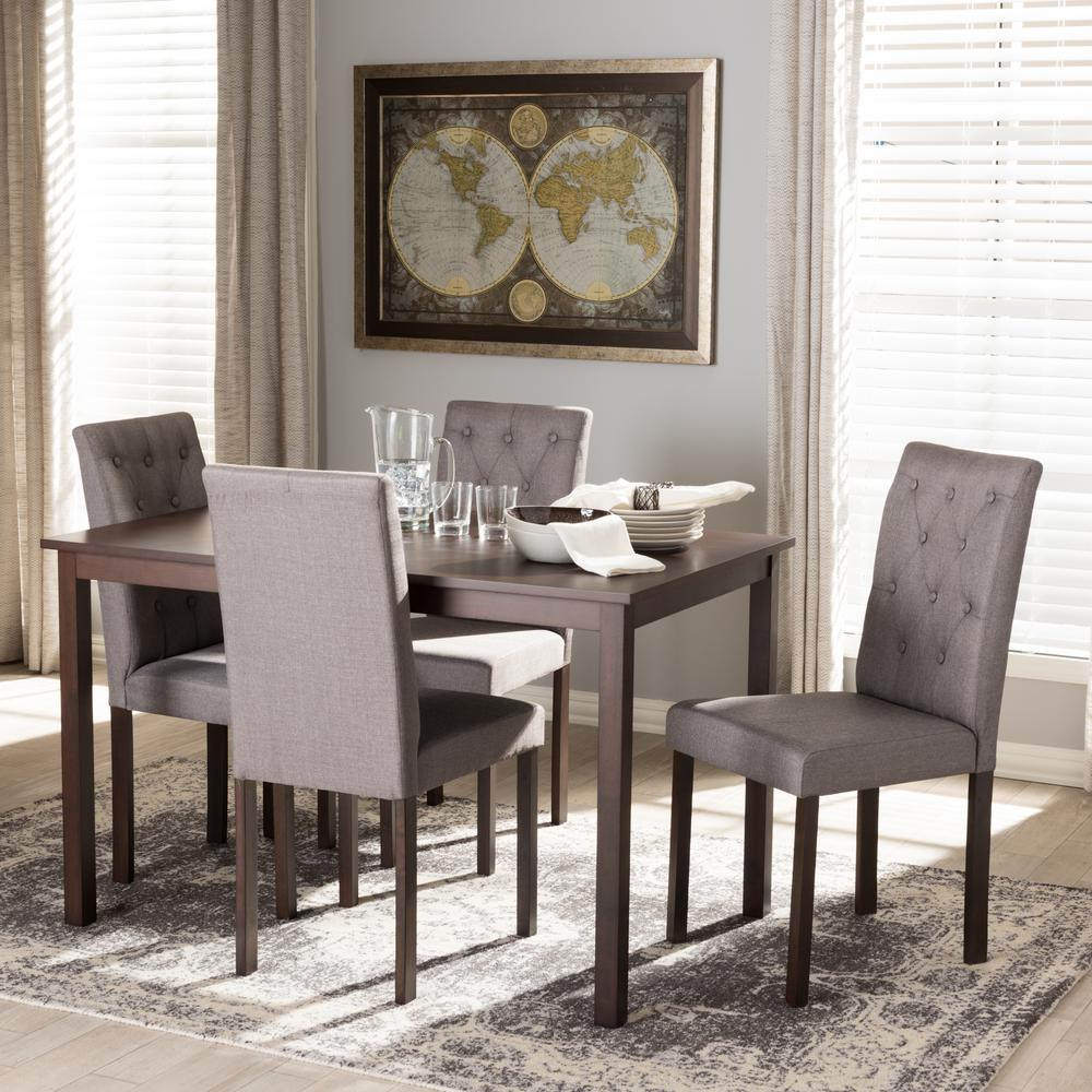 Baxton Studio Andrew 10 Buttons 5 Piece Gray Fabric Upholstered Dining Set 5255 7132 HD    The Home Depot