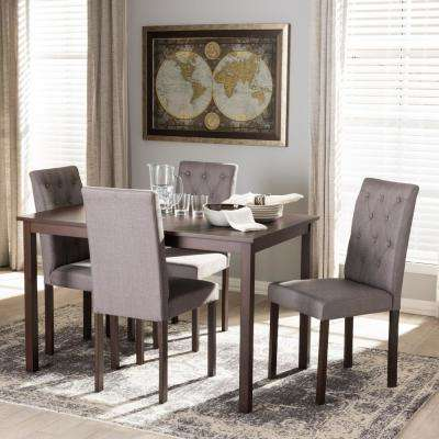 Andrew 10 Buttons 5 Piece Gray Fabric Upholstered Dining Set