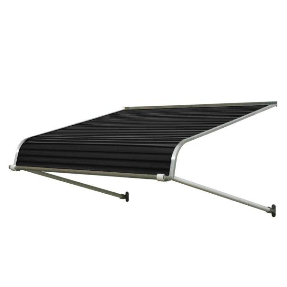 4 ft. 1100 Series Door Canopy Aluminum Awning (12 in. H x 42 in. D) in Black