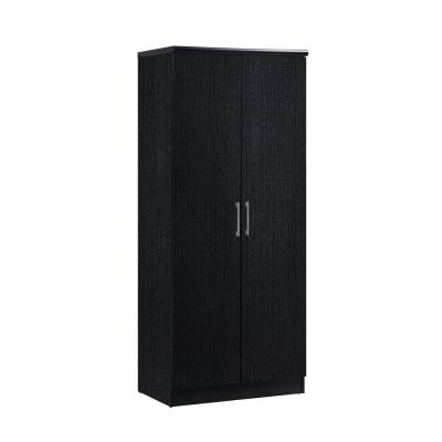 2-Door Black Armoire with Shelves