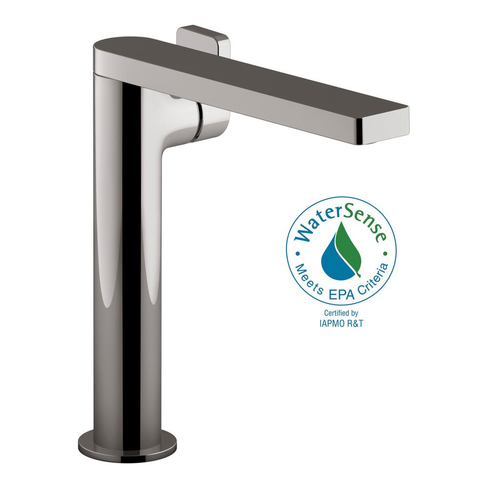 Tall Vessel Sink Faucet.Kohler Composed Single Hole Single Handle Tall Vessel Bathroom Faucet With Lever Handle And Drain In Titanium