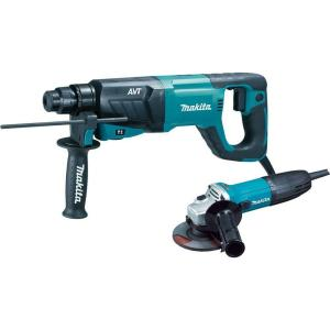 Makita 8 Amp 1 inch Corded SDS-Plus Concrete/Masonry AVT Rotary Hammer Drill with 4-1/2 inch Corded Angle... by Makita