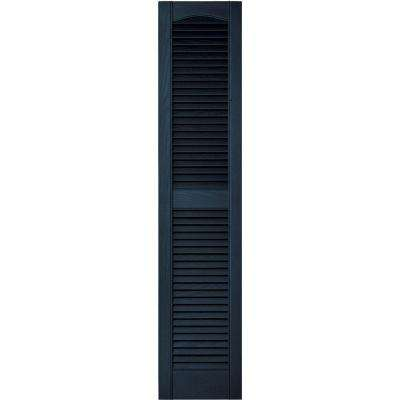 12 in. x 55 in. Louvered Vinyl Exterior Shutters Pair in #036 Classic Blue