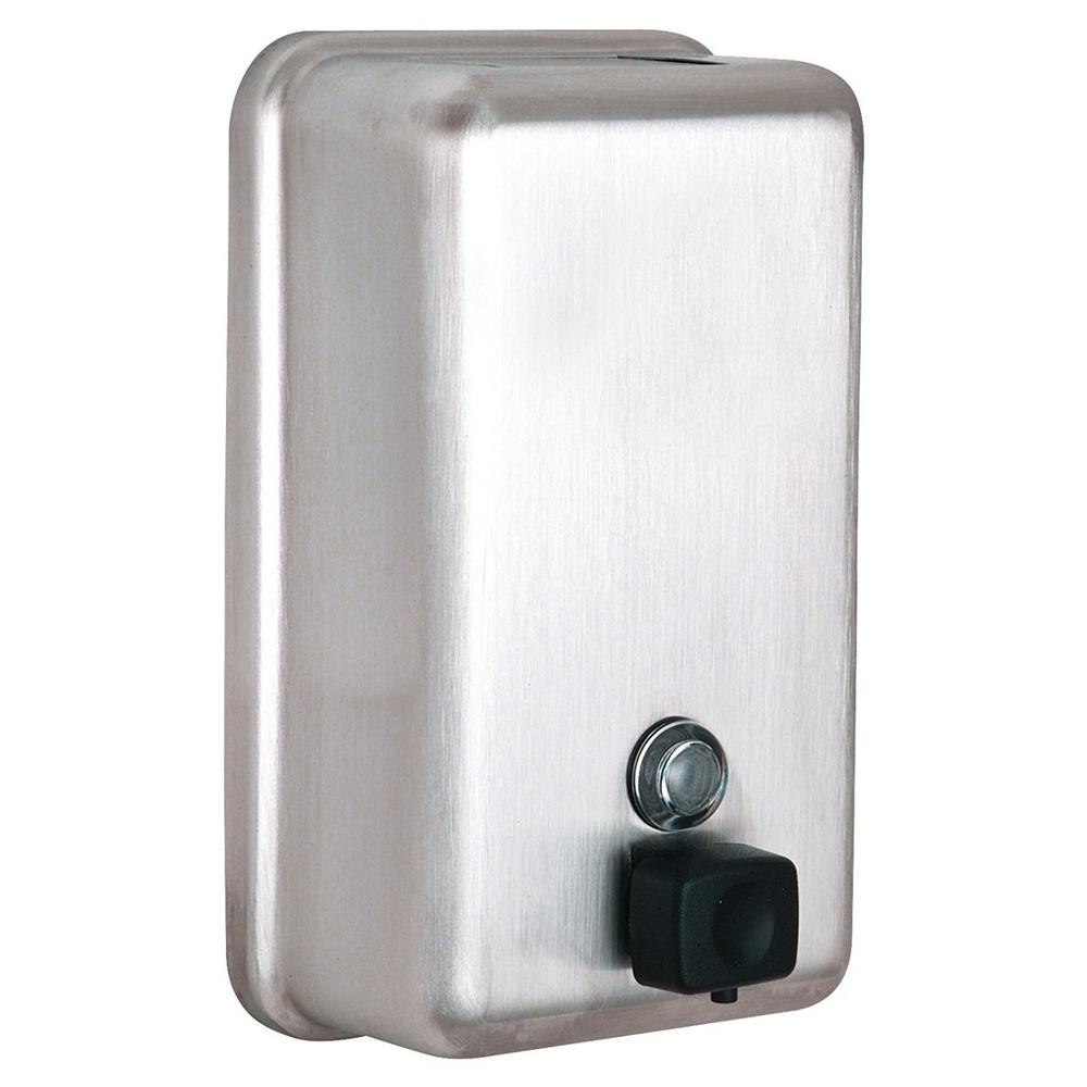 1200 ml. Vertical Manual Surface-Mounted Stainless Steel Liquid Soap Dispenser