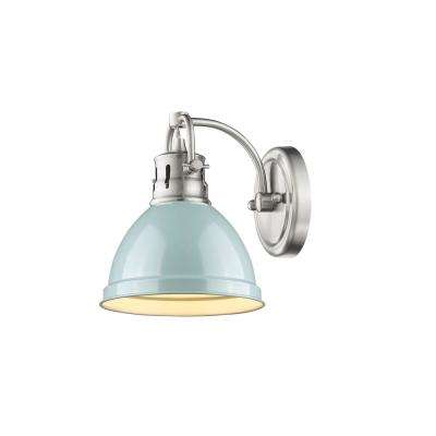 Duncan Pewter 1-Light Bath Light with Seafoam Shade