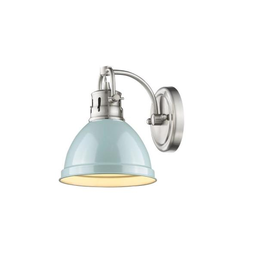 Duncan Pewter 1-Light Bath Light with Seafoam Shade