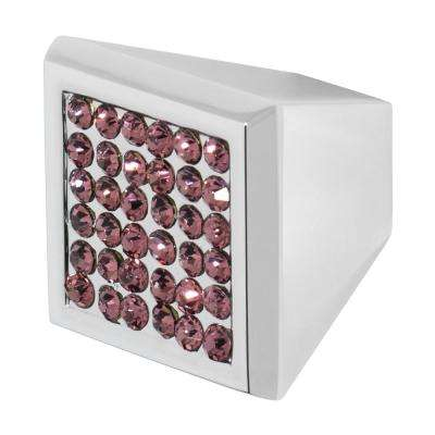 Marilyn 1 in. Chrome with Purple Crystal Cabinet Knob