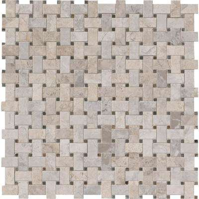 Tundra Gray Basket Weave 12 in. x 12 in. x 10mm Polished Marble Mosaic Tile (10 sq. ft. / case)