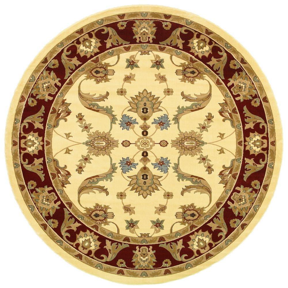 Adana Cream/Red 6 ft. 2 in. x 6 ft. 2 in. Round Plush Indoor Area Rug