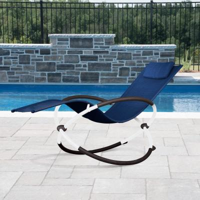 Orbital White Sling Outdoor Lounge Chair in Navy