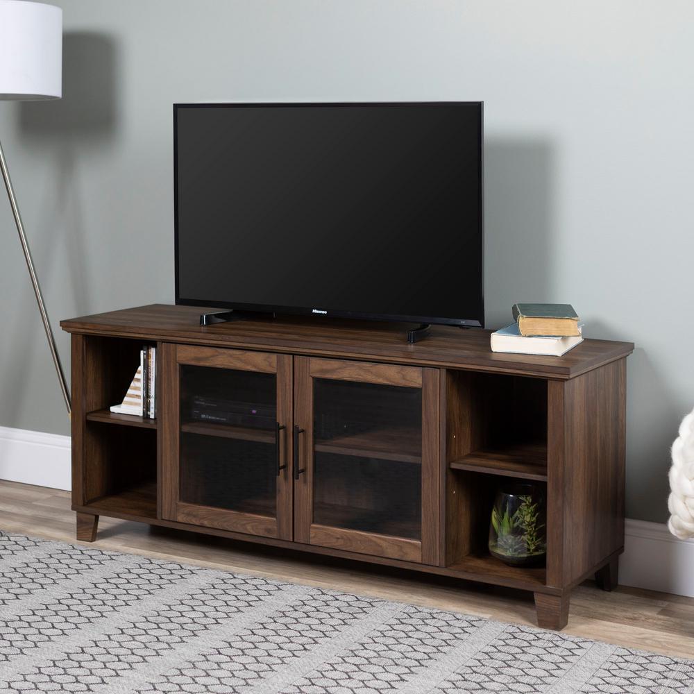 58 in. Dark Walnut Composite TV Stand 65 in. with Doors