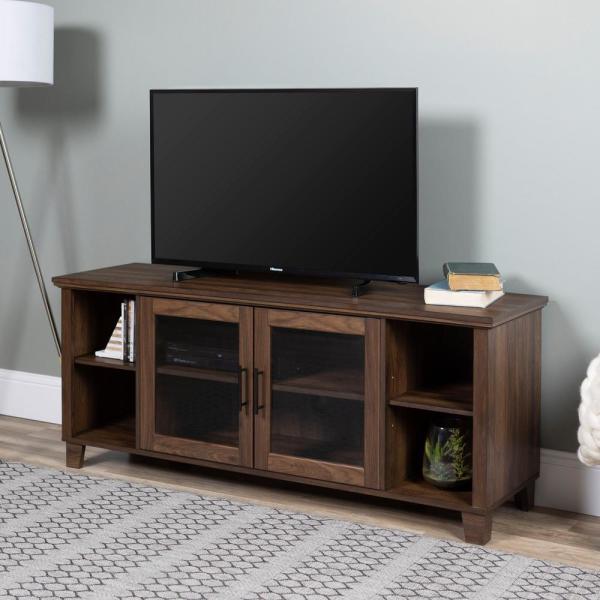 Columbus Dark Walnut Tv Stand With Middle Doors By Walker Edison Furniture Company