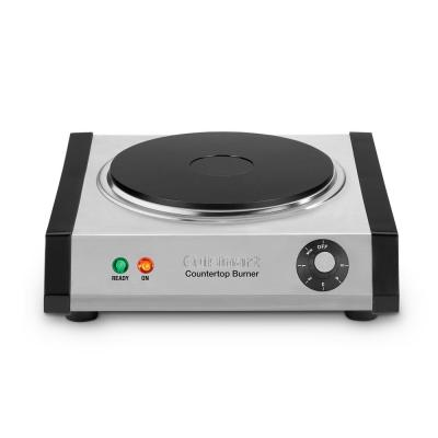 Single Burner 7.5 in. Brushed Stainless Cast Iron Hot Plate with Temperature Control