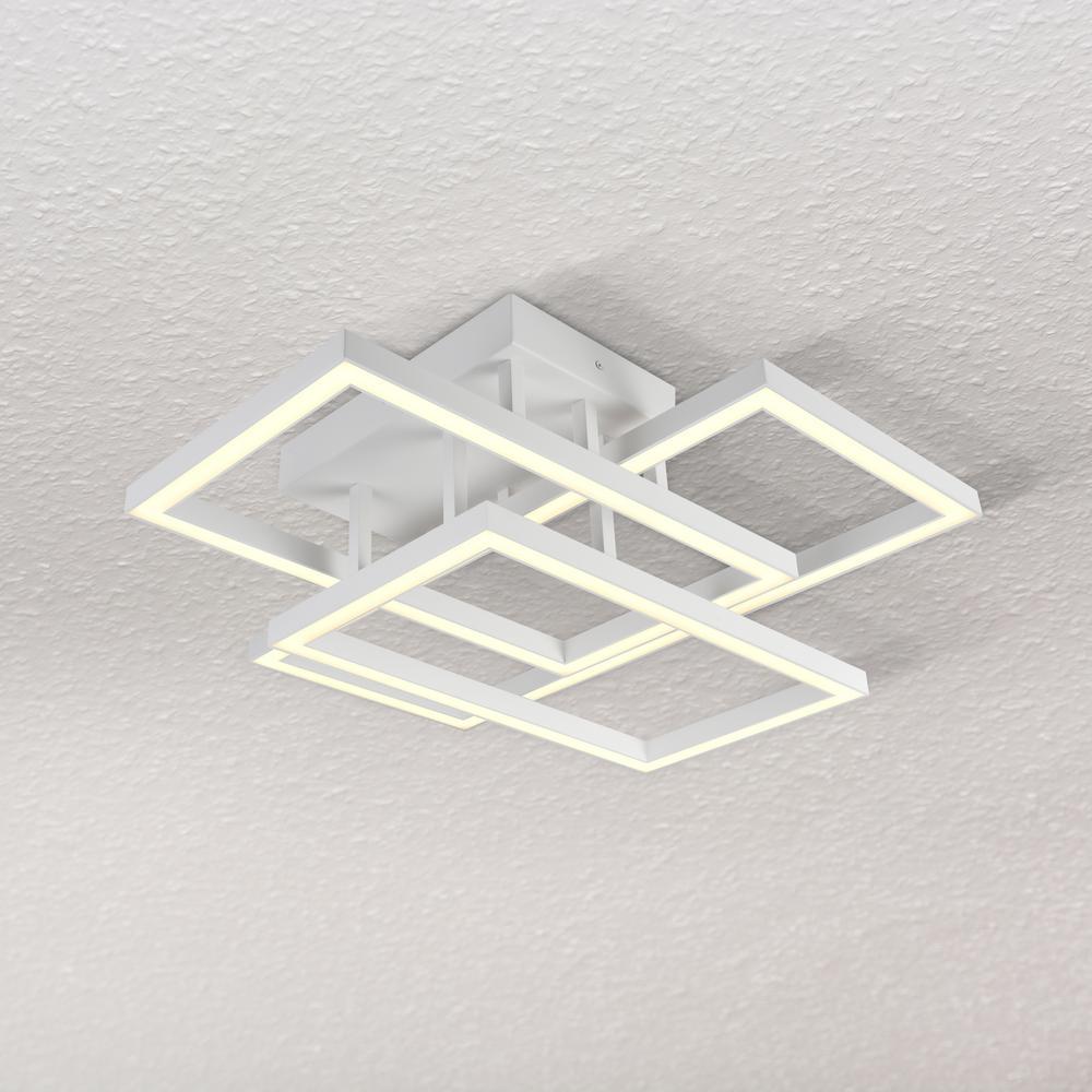 VONN Lighting Radium 78-Watt 28 in. White Integrated LED Rectangular Semi-Flush Mount
