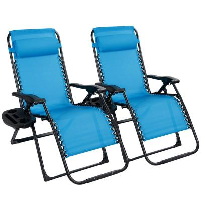 Folding Zero Gravity Chair Oversize Fabric Outdoor Lounge Chair in Blue (2-Pack)