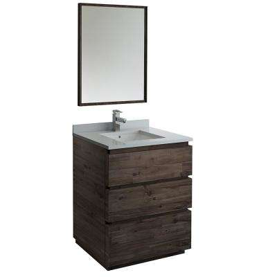 Formosa 30 in. Modern Vanity in Warm Gray with Quartz Stone Vanity Top in White with White Basin and Mirror