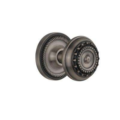 Rope Rosette Double Dummy Meadows Door Knob in Antique Pewter