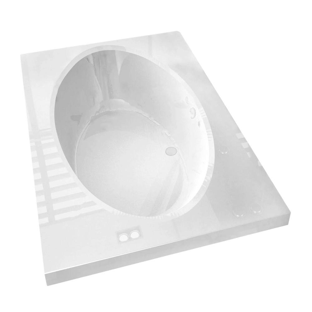 Imperial 6 ft. Acrylic Center Drain Rectangular Drop-in Non-Whirlpool Bathtub in