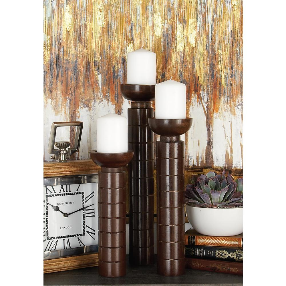 Polished Brown Wood and Aluminum Round Candle Holders (Set of 3)
