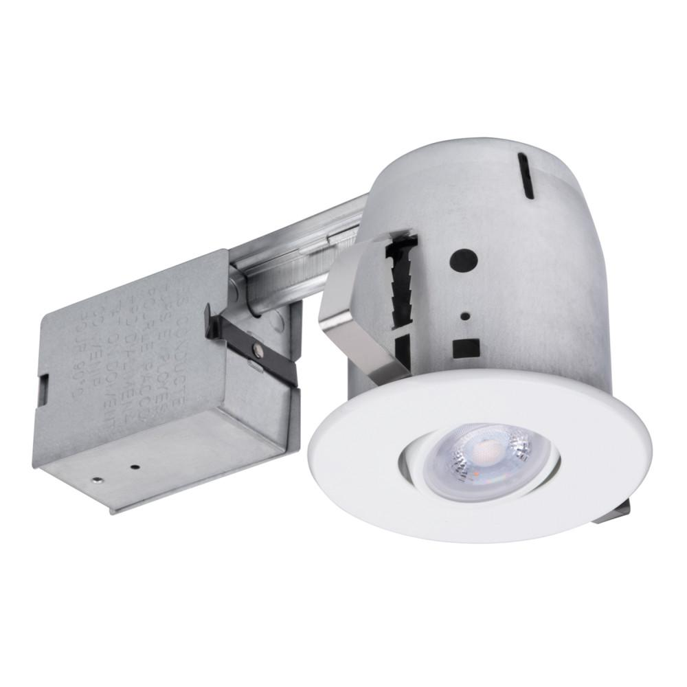 4 in. White Recessed Lighting Kit with LED Integrated Swivel and