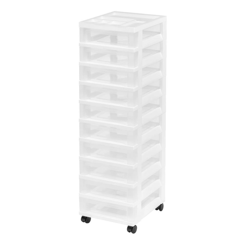 12.05 in. x 42.25 in. White Medium 10-Drawer Cart with Organizer Top