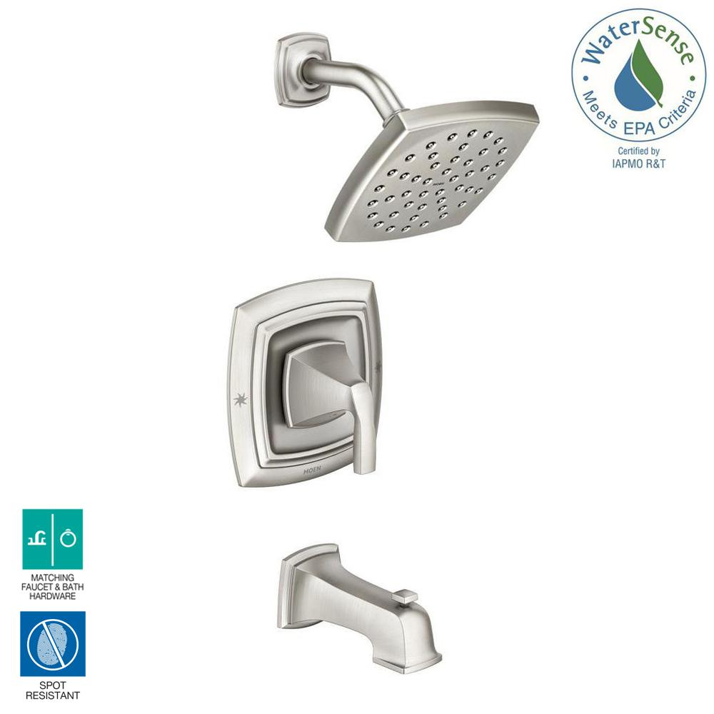 MOEN Hensley Single-Handle 1-Spray Tub and Shower Faucet in Spot Resist Brushed Nickel (Valve Included)