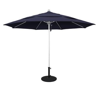 11 ft. Silver Anodized Aluminum Pole Market Fiberglass Ribs Pulley Lift Outdoor Patio Umbrella in Navy Sunbrella