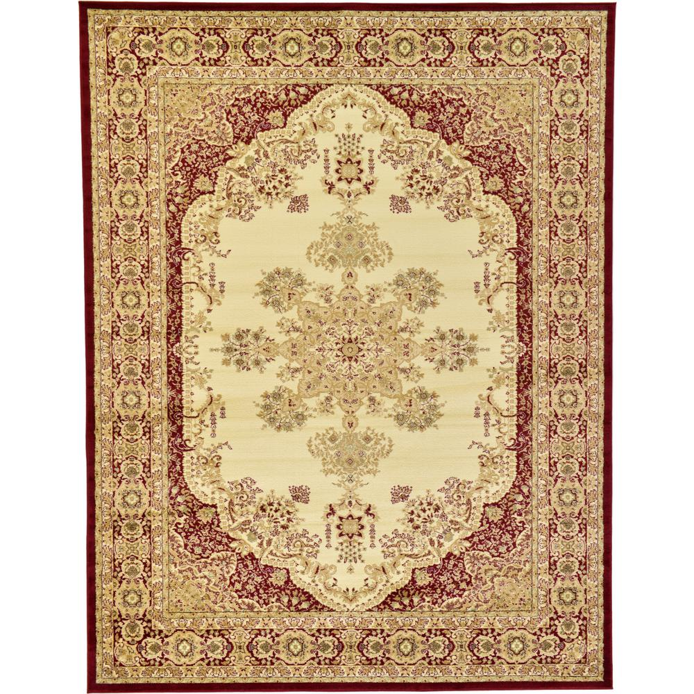 Unique loom versailles cream and red 9 ft x 12 ft area for Cream and red rugs