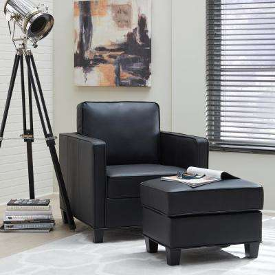Taylor Black Faux Leather Ottoman