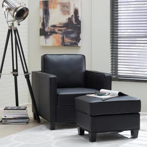 Incredible Homestyles Taylor Black Faux Leather Ottoman 5207 90 The Bralicious Painted Fabric Chair Ideas Braliciousco